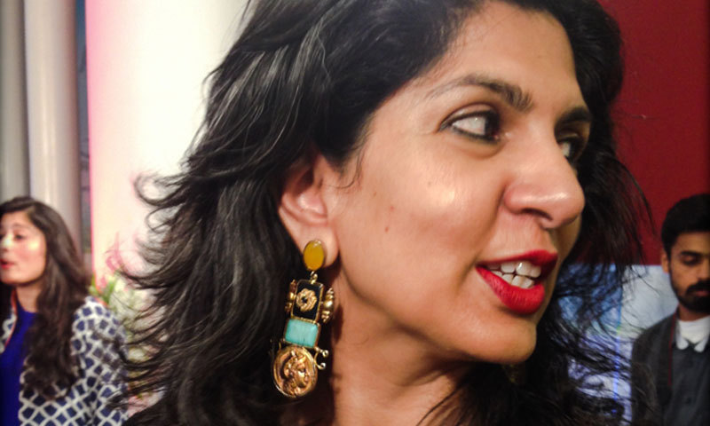 CEO of The Last Word,Sameera Raja, shows off designer earrings by Maleeha Rehan Malik. – Photo by Madeeha Syed