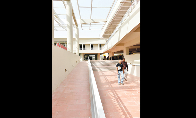 A walkway between different levels of the building