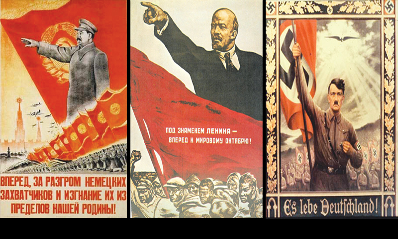 "From L-R: ""Let's go forward, destroy German invaders and throw them out from our Motherland!""— A Stalinist propaganda poster; Lenin making a rousing speech on a similar poster; Hitler's exreme personality cultism in a1930s poster which makes the most direct Christological comparison."