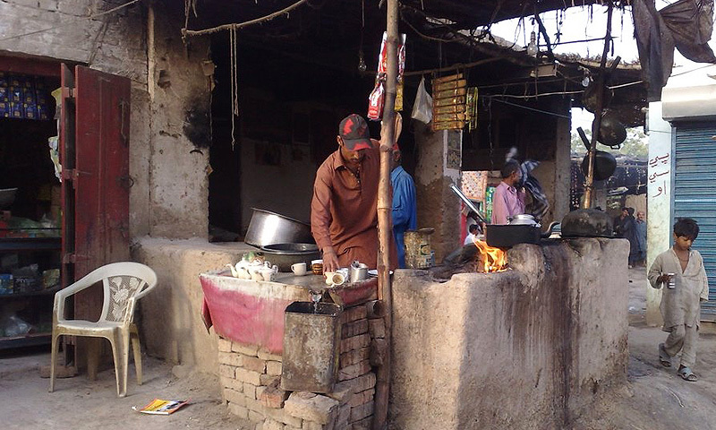 A tea stall (for truckers) in a small town in the north of the Sindh province.