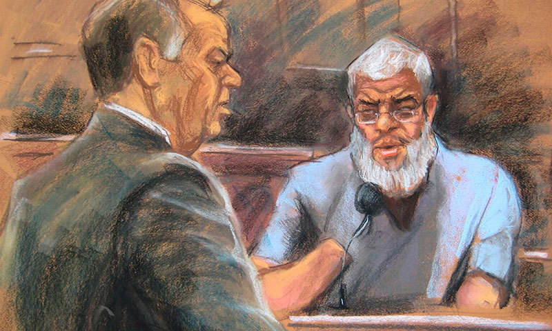 Abu Hamza al-Masri gives testimony in Manhattan federal court in New York in this artist's sketch May 8, 2014. – Reuters