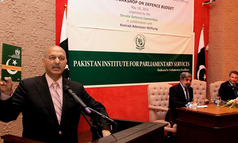 Senate Defence Committee Chairman Senator Mushahid Hussain Syed speaks during the launch Media Manual on Defence Budget at PIPS. — Photo by INP