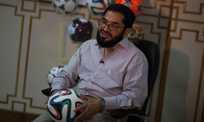Khawaja Masood Akhtar, CEO of Forward Sports which manufactures the official World Cup ball, talks to Reuters during an interview at its factory in Sialkot. -Reuters Photo