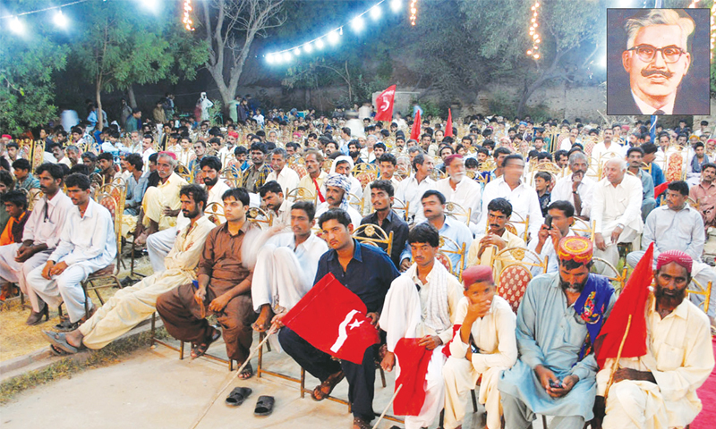 THE audience listens to speeches at a ceremony held in Hyderabad to mark the 44th death anniversary of peasant leader Comrade Hyder Bux Jatoi on Wednesday.—Dawn