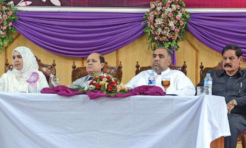 KP Assembly Speaker Asad Qaiser sits on the stage along with other guests at the Home Economics Conference in Peshawar on Thursday. — White Star