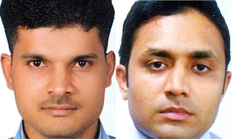 This combo of handout pictures received from the Metropolitan Police Service (MPS) on May 27, 2014 shows 34-year-old Muhammad Kashif Khan Kamran and Mohsin Ali Syed, both named by British police in connection with the 2010 killing of Imran Farooq in London. — AFP