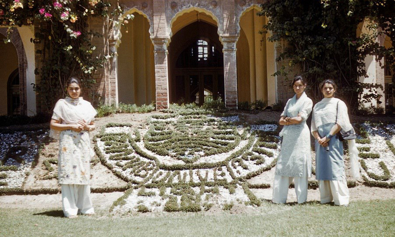 Students pose for a picture at Lahore's Punjab University (1965).
