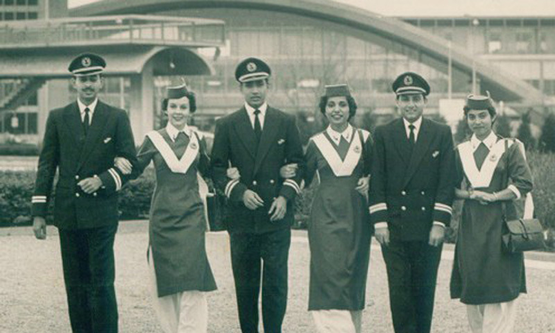 The Crew of a Pakistan International Airlines (PIA) flight in 1961. PIA began its impassive rise as one of the leading airlines of the world in the 1960s. It would hold this position till about the early 1980s before witnessing a steady decline in its fortunes.