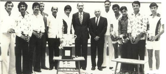 A 1976 photo of the award ceremony of the Pakistan Open Squash tournament which was won by Qamar Zaman (he beat the time's World No: 1 Geoff Hunt). This was the beginning of Pakistan's long dominance of world squash that ended in the 1990s.