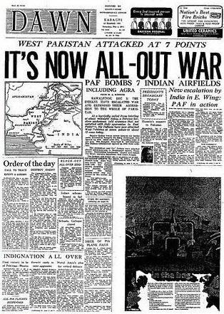 DAWN announces all-out war between Pakistan and India (1971).