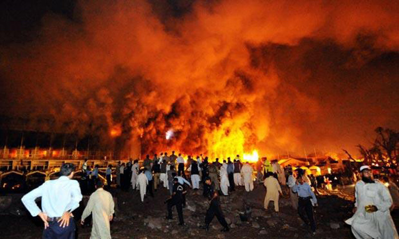 2008: Islamabad's Marriot Hotel in flames after extremists attacked it by ramming an explosives-ridden truck into it. Ever since 2004, thousands of civilians, soldiers, policemen, politicians and militants have been killed in extremist terror attacks and retaliatory military operations and US drone strikes.