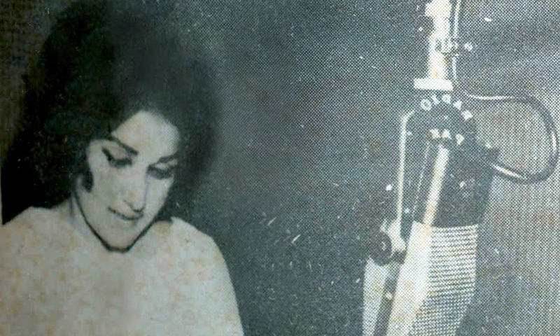 Famous film actress and singer, Noor Jehan, recording a song for Radio Pakistan in 1963.