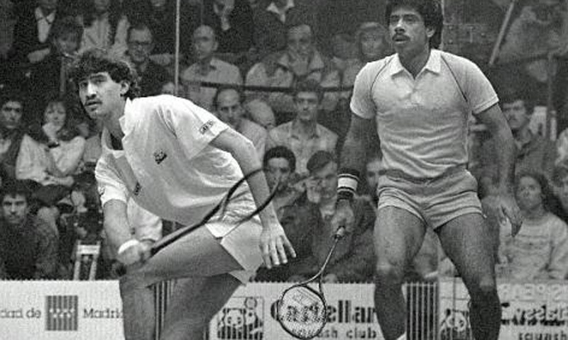 Pakistan's Jansher Khan (left) and Jahangir Khan dominated international squash in the 1980s.