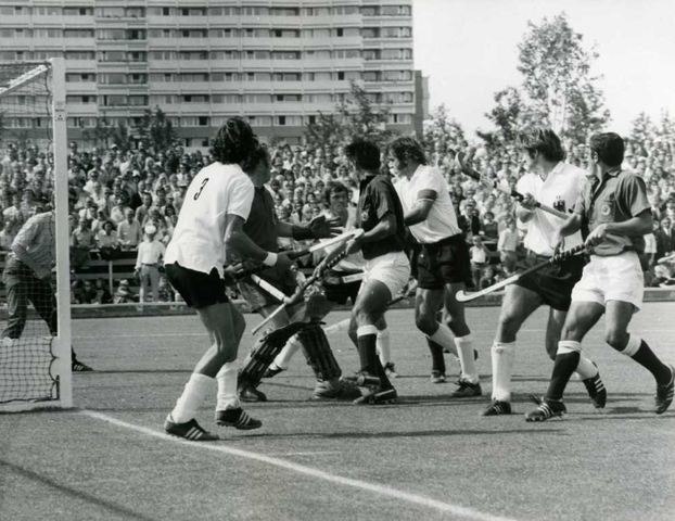 Pakistan hockey players get into a tussle with the German team in the hockey finals of the 1972 Munich Olympics.