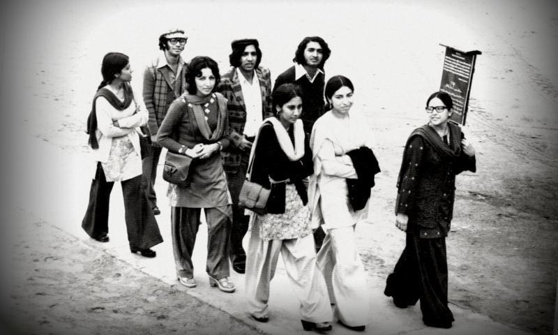 Students of Karachi's Dow Medical College off to attend a class in 1975.