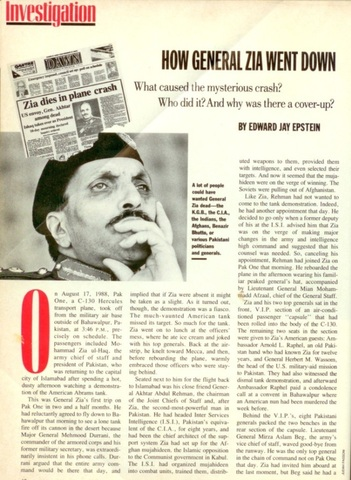 An October 1988 magazine report on the controversial demise of Ziaul Haq in August 1988.