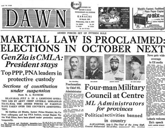 End of the populist era: Front page of Dawn after the Bhutto regime was toppled in a reactionary military coup in July 1977.
