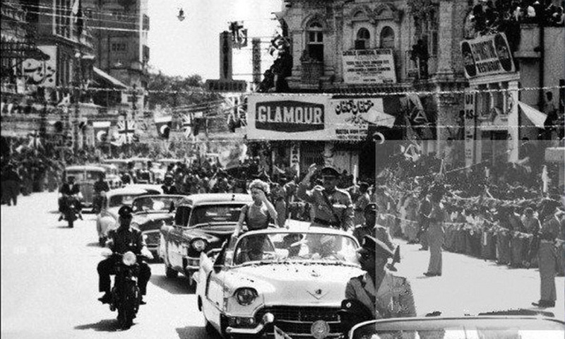 The Queen of England and Ayub Khan are driven through Karachi's Saddar area during the Queen's first visit to Pakistan in 1961.