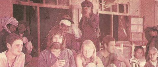 Young American and European tourists with the locals at a restaurant in Ziarat, Balochistan in 1973.