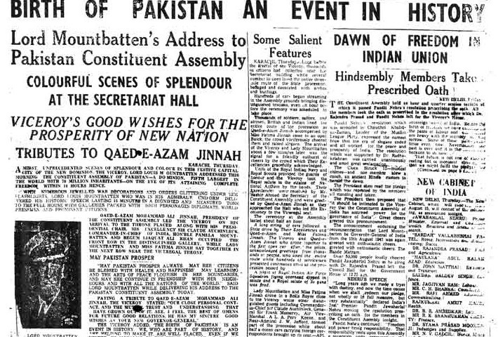 Birth of an idea: Front page of the DAWN newspaper the day after Pakistan's creation on 14 August 1947.