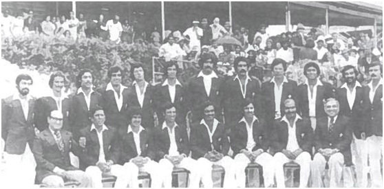 The Pakistan cricket team in the West Indies (1977). This squad would revive Pakistan cricket and go on to win Tests against the time's top two Test sides, Australia and West Indies. (Standing from left): Wasim Raja, TaslimArif, Mudassar Nazar, Haroon Rasheed, Imran Khan, Sarfraz Nawaz, Asif Masood, Zaheer Abbas, Javed Miandad, Sadiq Mohammed, Iqbal Qasim. (Sitting from left): Sujauddin (Manager), Salim Altaf, Wasim Bari, Asif Iqbal (Vice Captain), Mushtaq Mohammed (Captain), Majid Khan, Intikhab Alam, Imtiaz Ahmad (Asst. Manager).