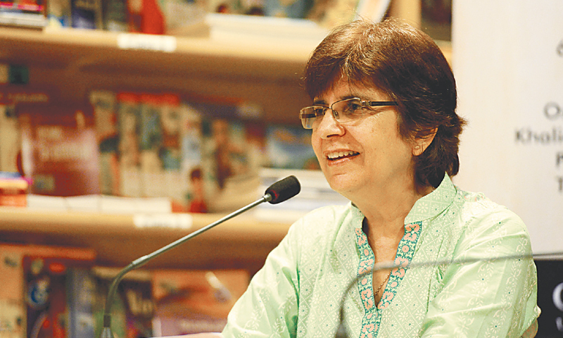 Ghulam Abbas's daughter Mariam Shera speaks at the event on Wednesday.—White Star