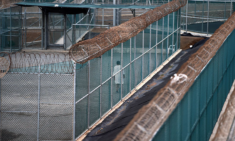 This photo shows an unidentified detainee walking at the US Naval Station in Guantanamo Bay, Cuba, in this April 08, 2014, file photo.—AFP photo