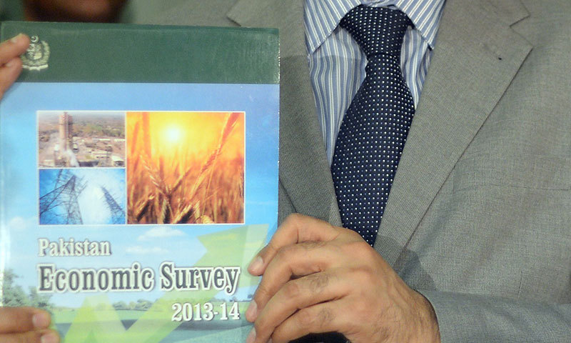 A copy of the Pakistan Economic Survey 2013-2014. – AFP Photo