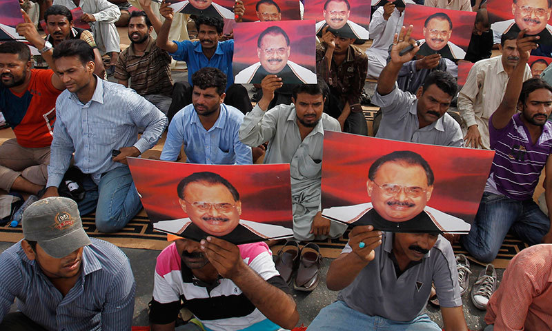 MQM supporters protest in Karachi against the arrest of Altaf Hussain.—Photo by AP