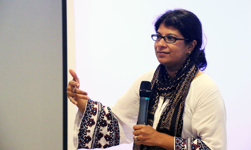 Sara Suhail, participant at the event organised for women entrepreneurs by Google Business Group Women in Karachi on Saturday. - Photo by Kurt Menezes