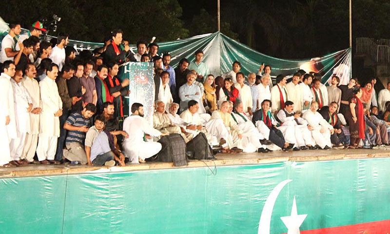 PTI Chairman Imran Khan addresses a huge public meeting in Sialkot on Saturday night. – Photo by Online