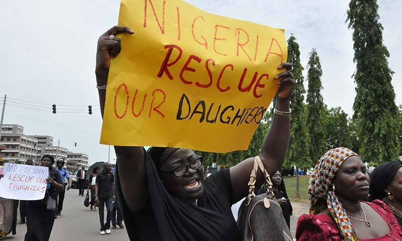 A demonstration in Nigeria against the kidnapping of girls. — Photo by AP