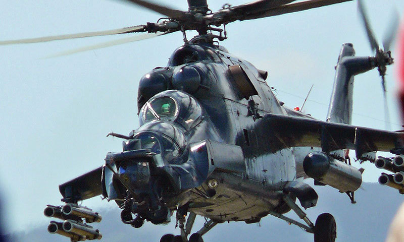 Russian MI-35 military helicopter. – Photo Wikimedia commons