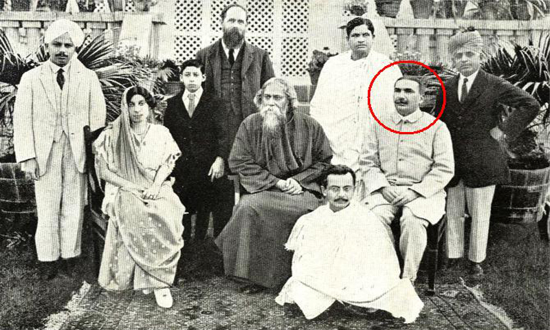 Jamshed Mehta with the poet Rabindranath Tagore and others. — Public Domain Photo