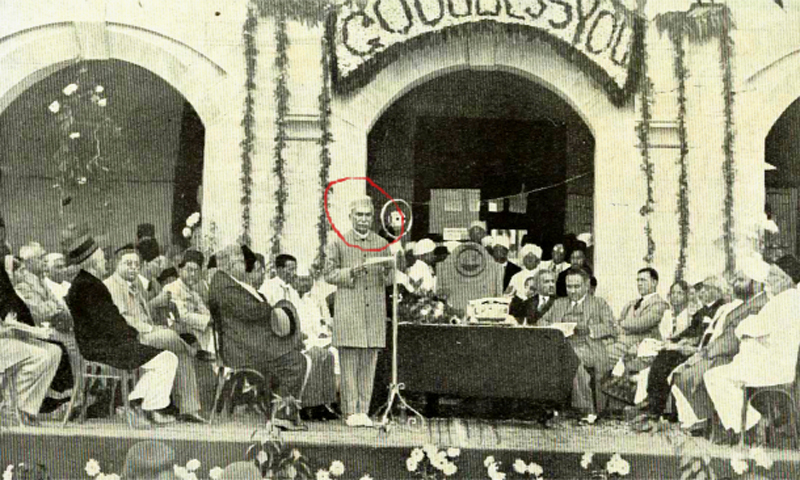 Jamshed Mehta speaking at an event held in his honour by the KMC in 1936. — Public Domain Photo
