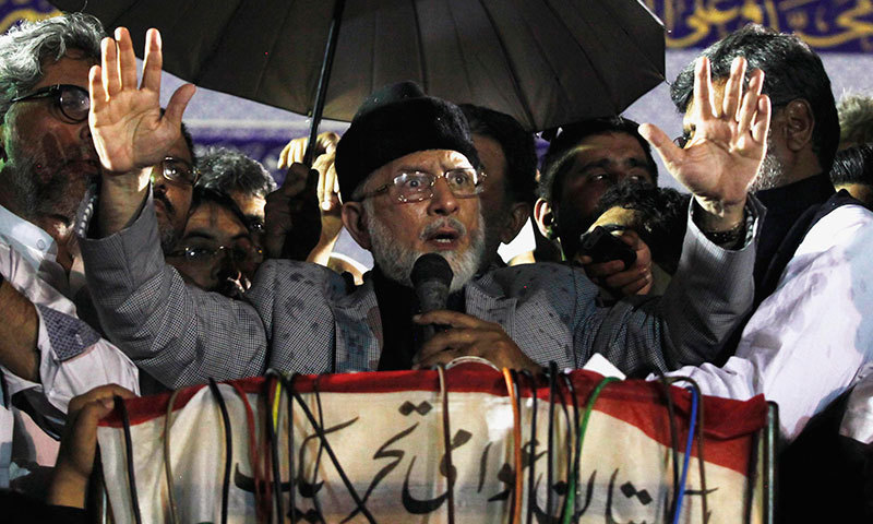 Dr Tahirul Qadri gives a speech during his meeting with supporters in Lahore June 23, 2014. – Reuters Photo