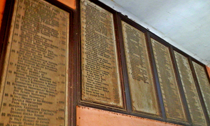 Plaques with names of people who made the donations. — Photo by author