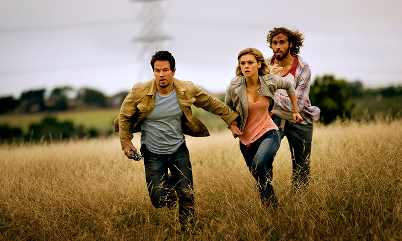 From left,  Mark Wahlberg, as Cade Yeager, Nicola Peltz as Tessa Yeager, and T.J. Miller as Lucas Flannery, in Transformers: Age of Extinction. — Photo by AP