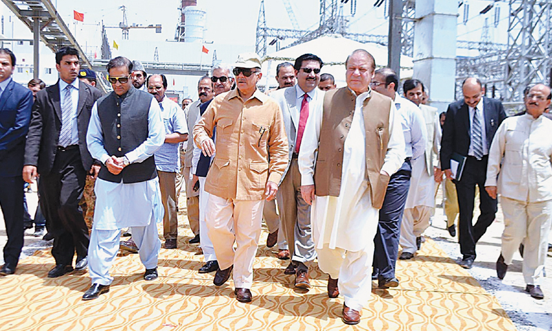 Prime Minister Nawaz Sharif takes a look around the Nandipur Power project's combined cycle plant after its inauguration ceremony.—APP file photo