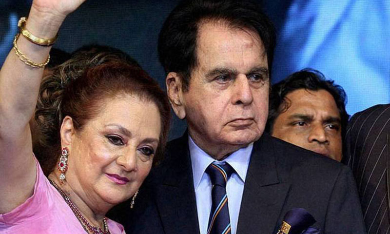 Dilip Kumar with wife Saira Banu. — File photo