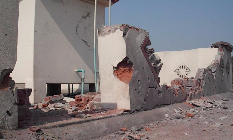 A house in a village on the Sialkot Working Boundary which was damaged by the firing by Indian forces on Sunday.