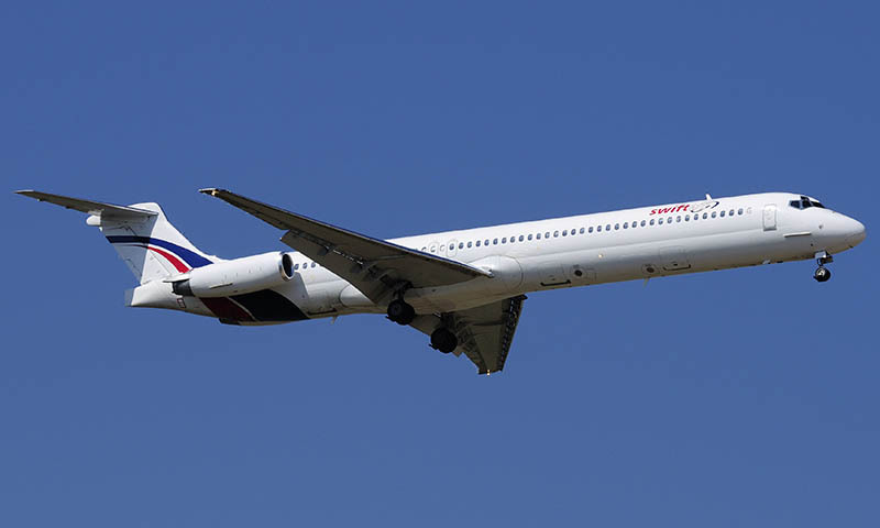 A Swiftair MD-83 airplane is seen in this undated photo.  — Photo by Reuters