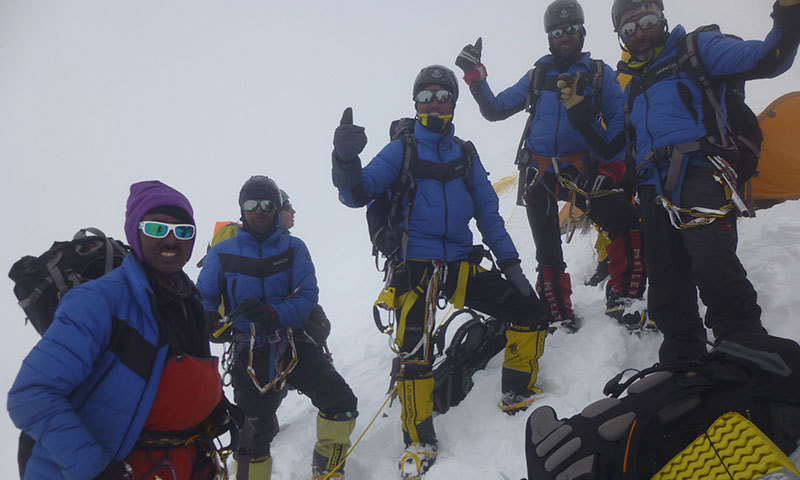 The Pakistani climbers at Camp IV on their way to the summit. - Photo by Ev-K2-CNR
