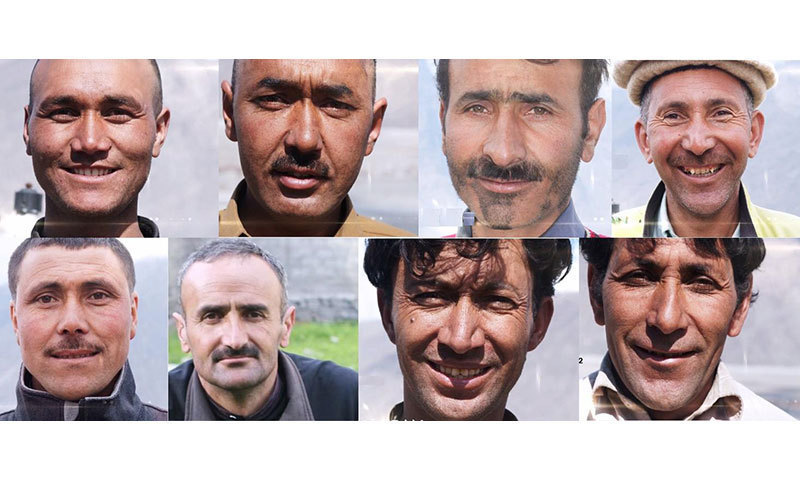 Left to right (top): Ali Durrani, Ghulam Mehdi, Mohammad Sadiq, Hassan Jan.  Bottom: Mohammad Taqi, Rahmatullah Baig, Mohammad Hassan, Ali Rozi