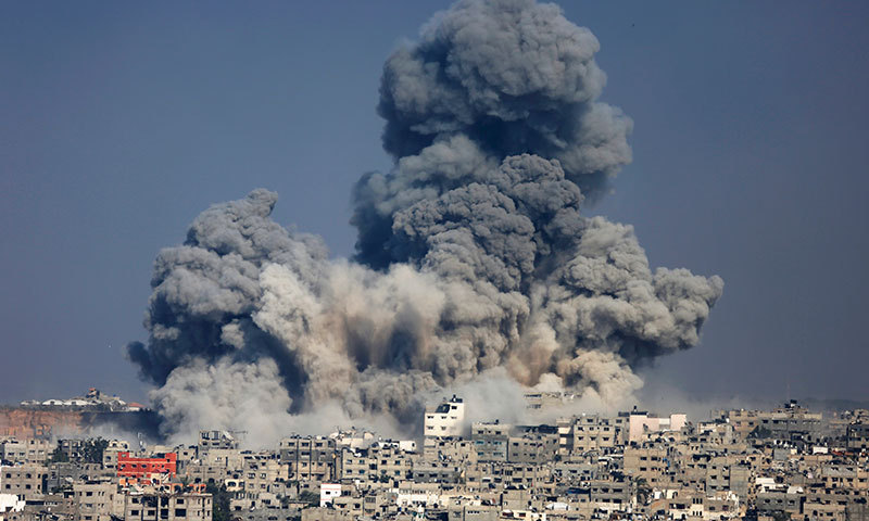 Smoke from the explosion of an Israeli strike rises over Gaza City, Tuesday, July 29, 2014. — Photo by AP