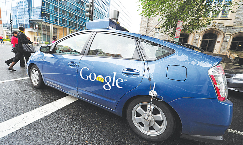 Washington: The Google self-driven car manoeuvres through the streets of Washington.—AFP