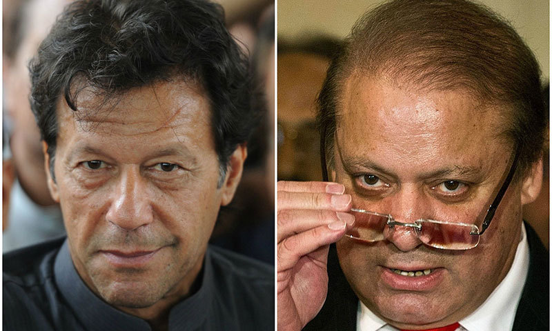 PTI chief Imran Khan and Prime Minister and PML-N chief Nawaz Sharif. — File photo