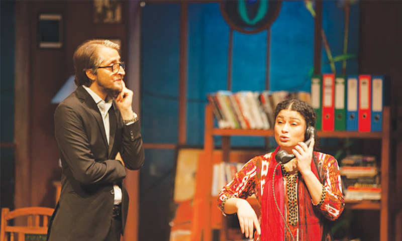 Sania Saeed and Abdullah Farhatullah perform in a play at the Arts Council on Friday evening.—White Star