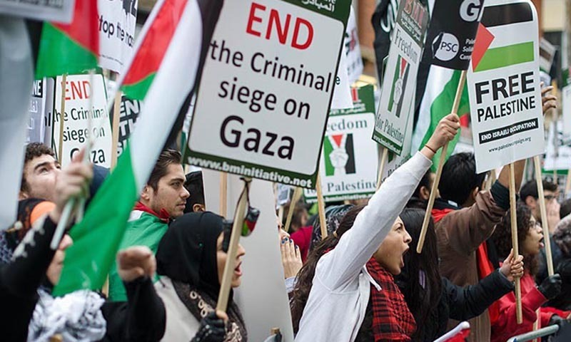 Pro-Palestinian demonstrators protest in central London. — File photo