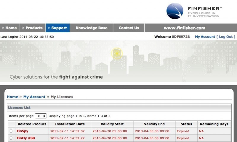 The screenshot of the FinFisher portal shows the software purchases made by the Pakistani customer, including license validity period.